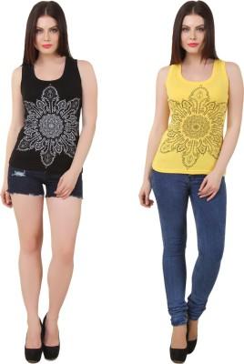 Yati Casual Sleeveless Printed Women's Black, Yellow Top