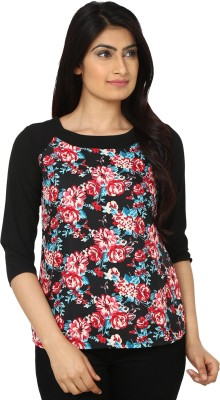 Eighteen4ever Casual 3/4 Sleeve Floral Print Women's Black, Red Top