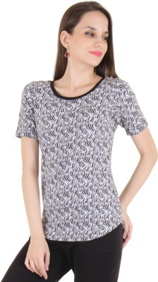 Lady Stark Casual Short Sleeve Printed Women's Black, White Top