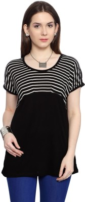 Van Heusen Casual Short Sleeve Striped Women's Black Top
