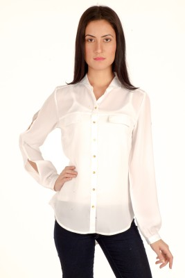 Bombay High Casual Full Sleeve Solid Women's White Top