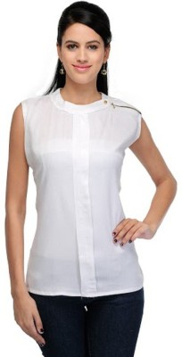 PINK SISLY Casual Sleeveless Solid Women's White Top