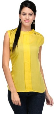 PINK SISLY Casual Sleeveless Solid Women's Yellow Top