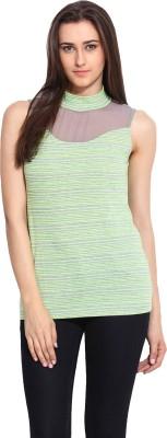 Mystree Casual Sleeveless Striped Women's Grey, Green Top
