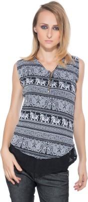 Membooz Casual, Party Short Sleeve Self Design Women's Black Top
