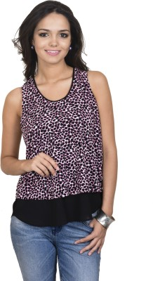 Antilia Femme Casual Sleeveless Printed Women's Black Top