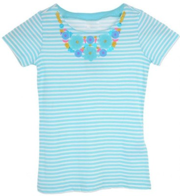 Joy N Fun Casual Short Sleeve Printed Girl's White, Blue Top