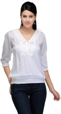 PINK SISLY Casual 3/4 Sleeve Solid Women's White Top