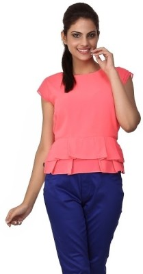 Purplicious Casual, Festive, Party Short Sleeve Solid Women's Pink Top