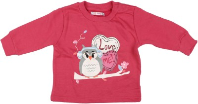 Parv Collections Casual Full Sleeve Printed Baby Girl's Pink Top