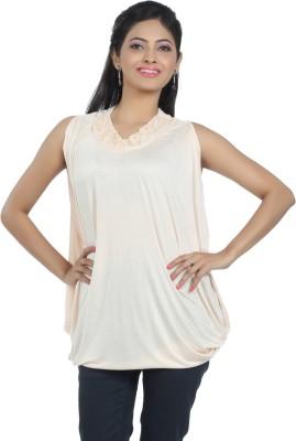 ALIEP Casual Sleeveless Solid Women's Beige Top