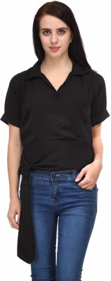 Natty India Casual Short Sleeve Solid Women's Black Top