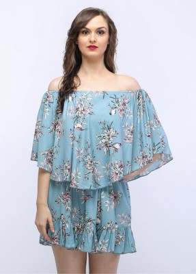 SOULWEAR Casual, Wedding, Party, Festive, Formal Cap sleeve Printed Women's Blue Top