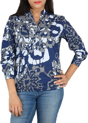 Fashion Fuse Casual Roll-up Sleeve Graphic Print Women's Blue, Grey Top