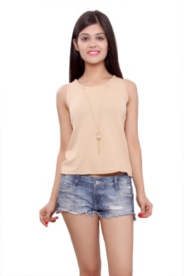 Maya Apparels Party Sleeveless Solid Women's Brown Top