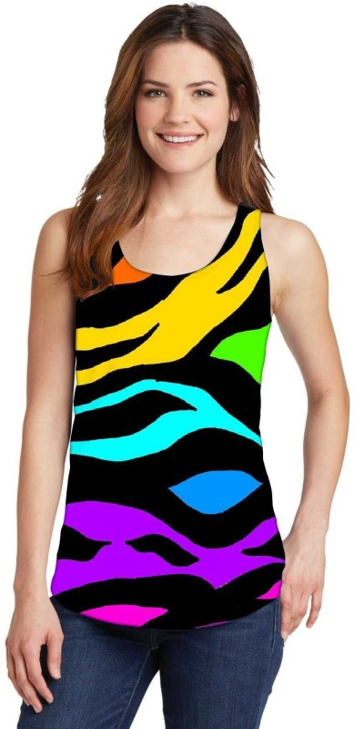 Snoogg Casual Sleeveless Graphic Print Women's Multicolor Top