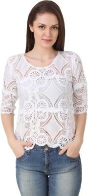 Big Pout Casual, Party, Festive, Beach Wear 3/4 Sleeve Self Design Women's White Top