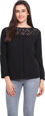 Mystree Casual 3/4 Sleeve Solid Women's Black Top