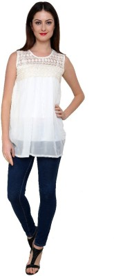 Zotw Casual Sleeveless Solid Women's White Top