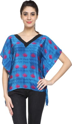 Niriksha Party Kimono Sleeve Embellished Women's Blue Top