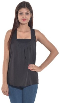 Entease Casual Sleeveless Solid Women's Black Top