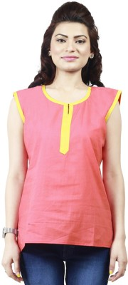 Ambitione Women,s, Girl's Solid Casual Orange Shirt