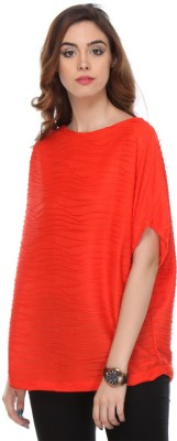 We Desi Party Kimono Sleeve Solid Women's Red Top