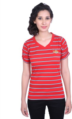 Duke Stardust Casual Short Sleeve Striped Women's Red Top
