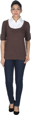 Dope Casual Roll-up Sleeve Self Design Women's Brown Top