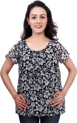 Fine Colors Casual Short Sleeve Floral Print Women's Black Top