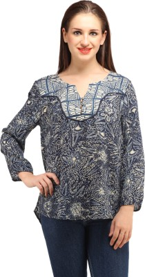 My Addiction Casual Full Sleeve Printed Women's Blue Top