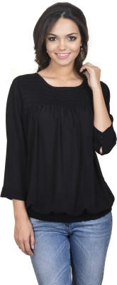 Antilia Femme Casual 3/4 Sleeve Solid Women's Black Top