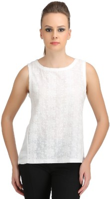 Ozel Casual Sleeveless Solid Women's White Top