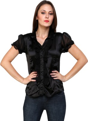 Jake Chiramel Casual Short Sleeve Solid Women's Black Top