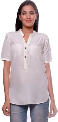 La Divyyu Casual Short Sleeve Solid Women's Beige Top