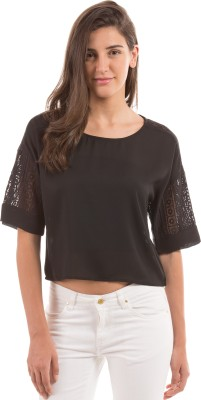 Prym Casual 3/4 Sleeve Solid Women's Black Top