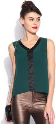 Dressberry Casual Sleeveless Solid Women's Green Top