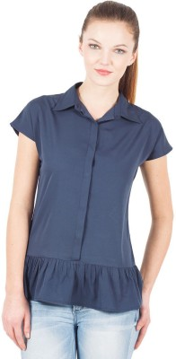 The Vanca Formal Sleeveless Solid Women's Blue Top at flipkart