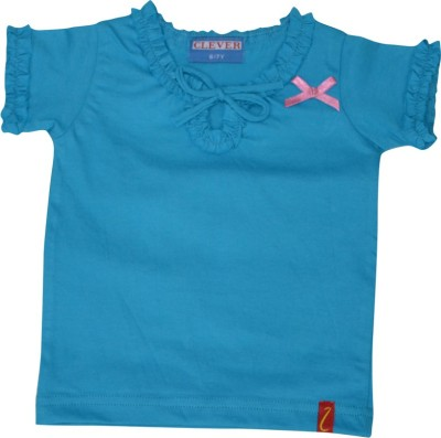 Clever Casual Short Sleeve Solid Girl's Light Blue Top
