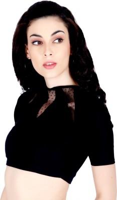 LAWMAN Casual Short Sleeve Solid Women's Black Top