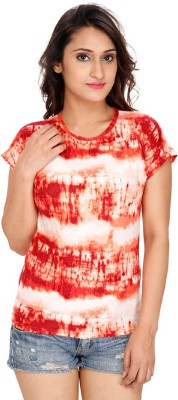 Franclo Party Short Sleeve Graphic Print Women's Orange Top