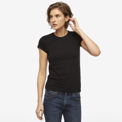 Fabnic Solid Women,s Round Neck Black T-Shirt