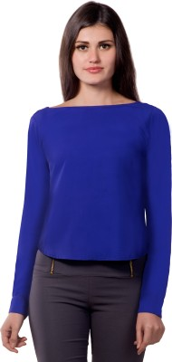 Miss Chase Casual Full Sleeve Solid Women's Blue Top
