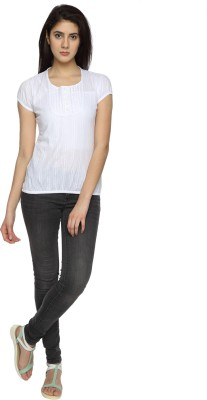 Texco Garments Casual Short Sleeve Solid Women's White Top