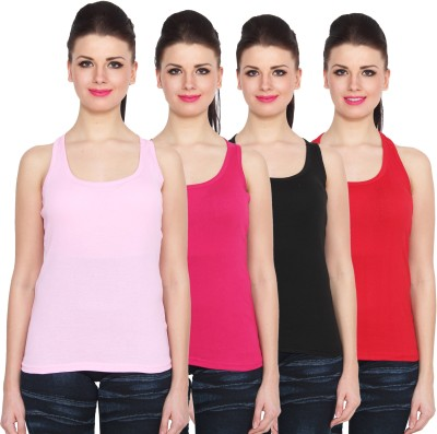 NumBrave Sports Sleeveless Solid Women's Pink, Black, Red Top