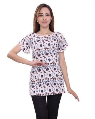 GMI Casual Short Sleeve Printed Women's White Top