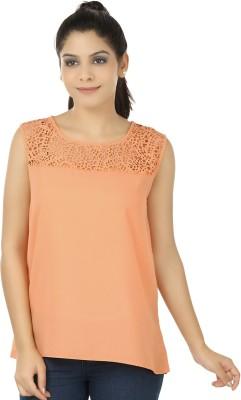 Elmo Casual Sleeveless Solid Women's Orange Top