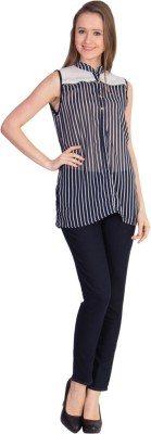U.F.C. Collection Casual Sleeveless Striped Women's Black Top