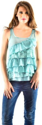 Oshea Casual Sleeveless Embroidered Women,s Blue Top