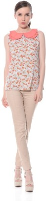 XNIVA Casual Sleeveless Solid Women's Orange Top